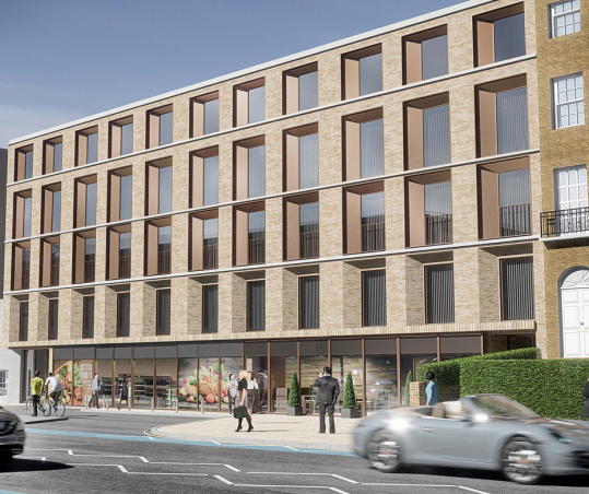 Melt Homes Project at 68-86 Clapham Road, Kennington - Front CGI- People walking in front of the building.