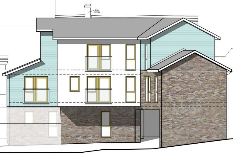 Approved rear elevation at Cinderford