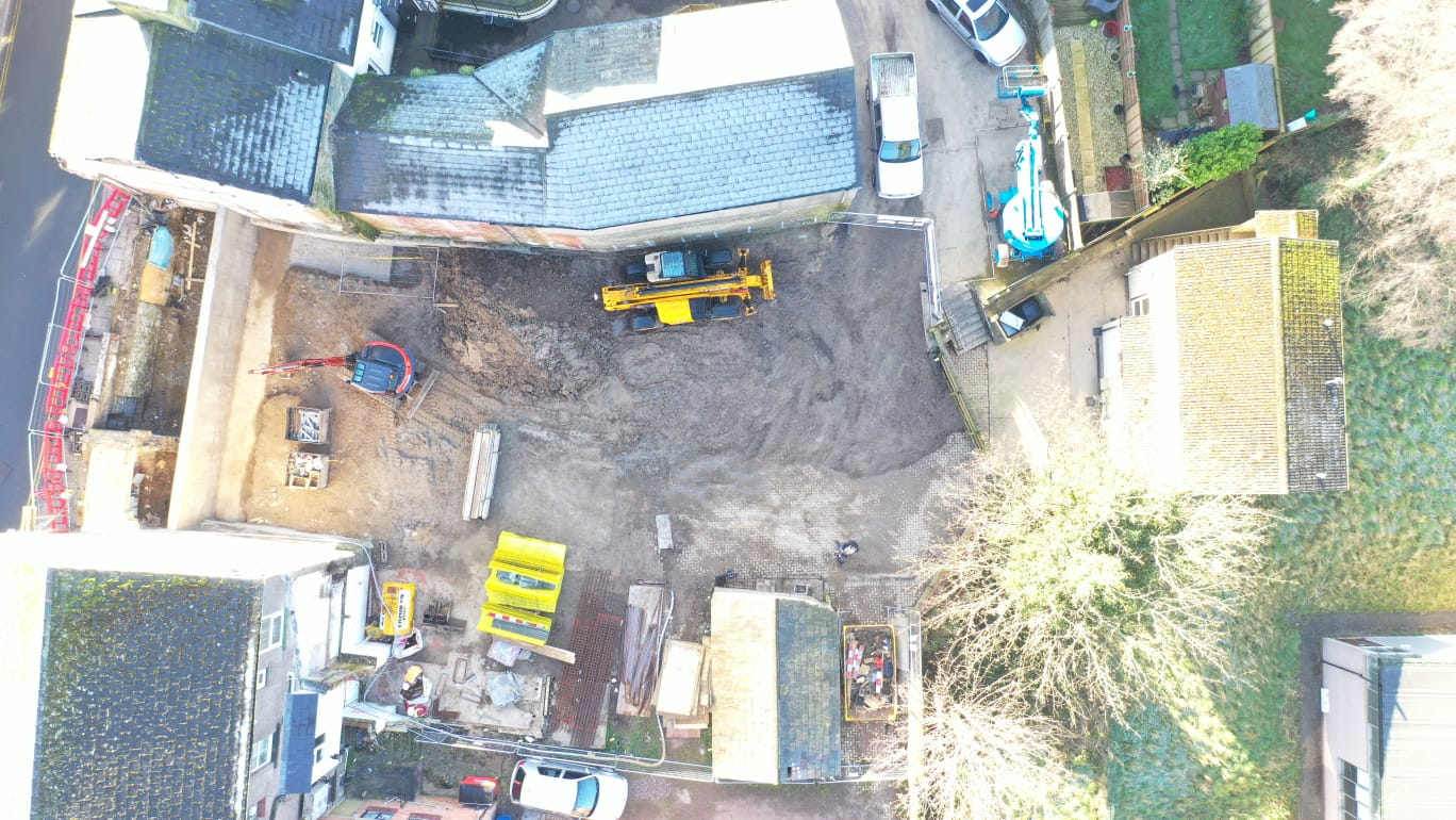 Aerial view at a new development in Cinderford