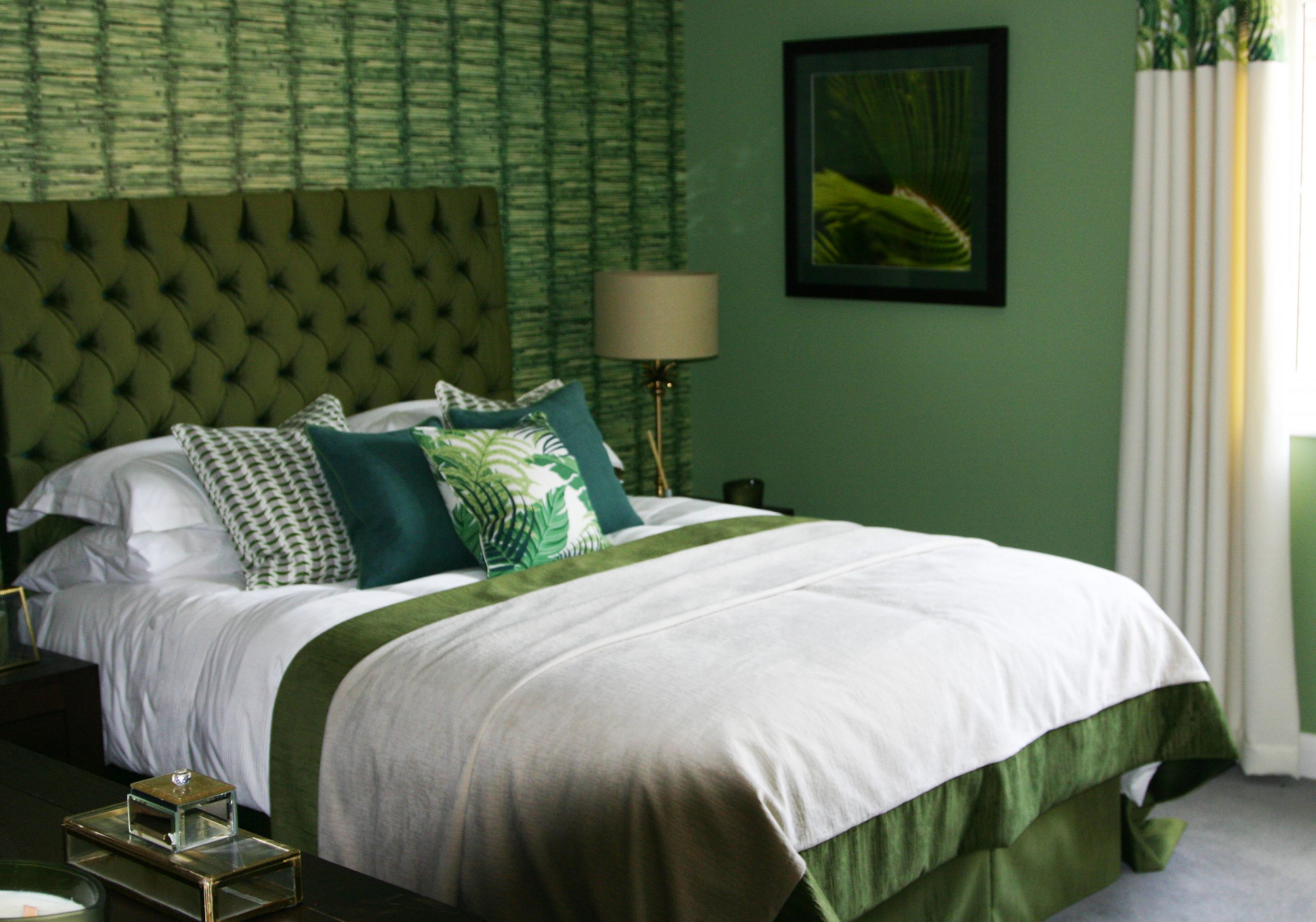 Bedroom with different shades of green used for the interiors, Plough Meadow