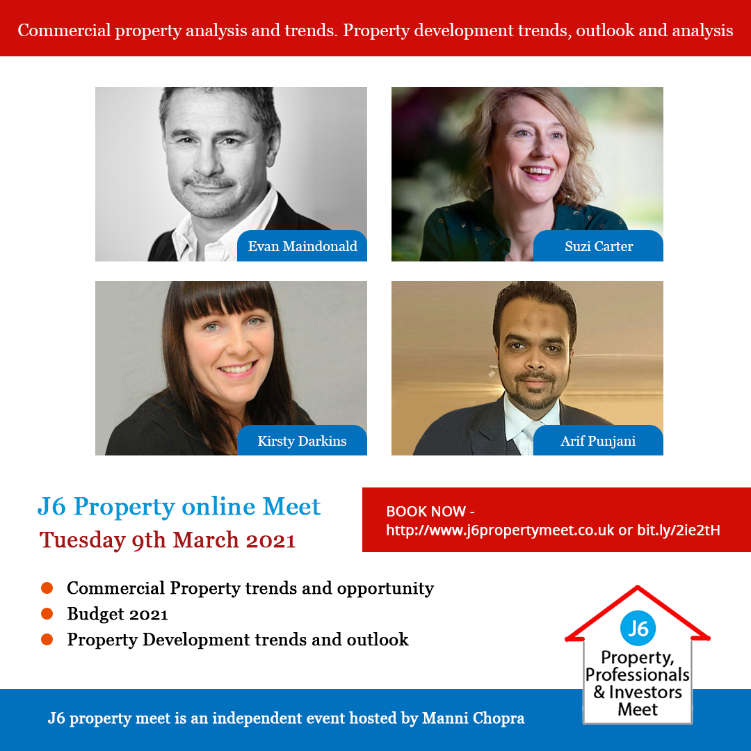 J6 Property Online Meet banner with speakers and topics