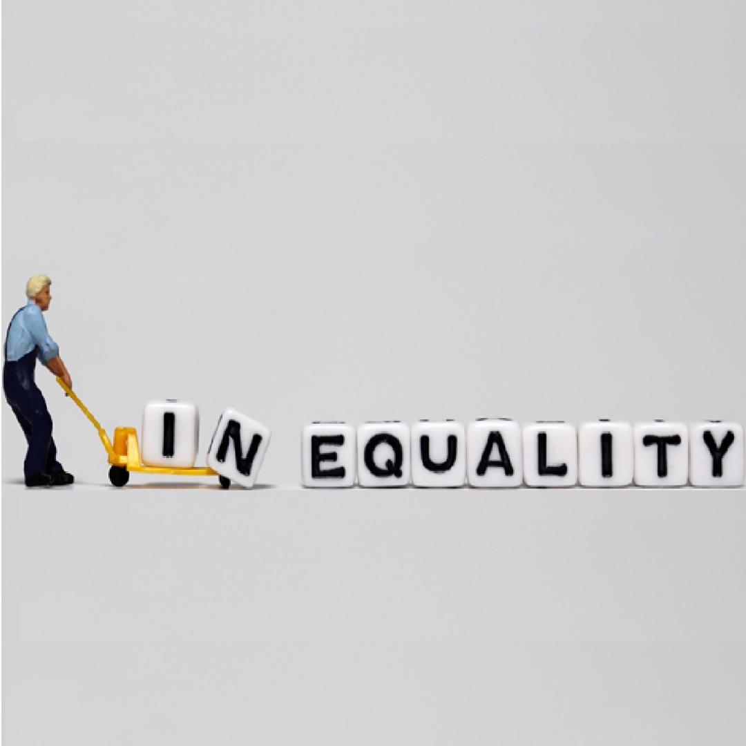 Man pulling the word inequality, March AJ issue by Kunle Barker about procurement challenges faced by architects